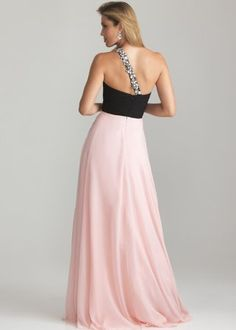 Cheap Night Moves 6617 One Shoulder Long Prom Dress Black/Pink