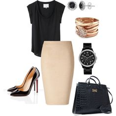 love the nude pencil skirt work chic