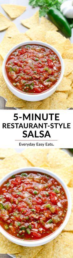 5-Minute Restaurant-Style Salsa Recipe | EverydayEasyEats.com