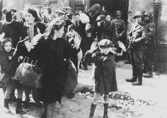 War and fear.  Frightened Jewish civilians including a terrified little boy hold their hands up as they are rounded up at gun point by Nazi soldiers in German-occupied Poland. The expressions on the soldiers' faces show their hostility toward their victims and produce as much emotional impact for the viewer as the weapons they hold. (Unknown photographer c.1942. Via photosofwar.net).