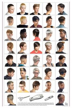 """""""In an effort to disrupt the dominant images about what women's hair should look like, Lauren Boyle and Marco Roso created an alternative aspirational beauty salon poster that offers women a set of hairstyles usually associated with lesbians. The collect Queer Hair, Lesbian Hair, Butch Haircuts, Haircuts For Men, Popular Hairstyles, Hairstyle Names, Girl Hairstyles, Style Hairstyle, Easy Hairstyles"""