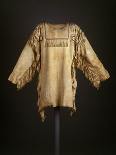 Red River Metis (Native American). Chief's Dress Shirt, early 19th century. Buckskin, glass beads, dyed hair, porcupine quills, thread, 39 x 52 in. (99.1 x 132.1 cm). Brooklyn Museum, Henry L. Batterman Fund and the Frank Sherman Benson Fund, 50.67.7a. Creative Commons-BY (Photo: Brooklyn Museum, 50.67.7a_SL1.jpg)
