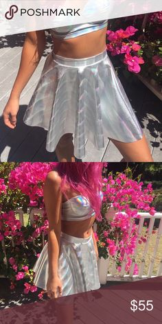 Holographic cosmic alien princess skirt Holographic skater skirt.  perfect for all intergalactic cosmic babes! one size, fits small/ medium best. no brand. looks awesome in sunlight and would be bomb at any rave, festival, show, party, concert, etc! Cheaper off site ✌️ UNIF Skirts Circle & Skater
