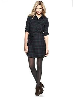 Plaid flannel shirtdress from gap. great for a Christmas party