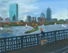 """For sale and on sale Skyline of Boston painting Oil on Canvas Board 11""""X14"""""""