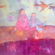 "Lillebrortur 70 x 70 cm ""Journey with Little Brother"" by Norwegian artist Marit Bergem"