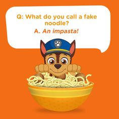 What do you call a fake noodle?  An impasta! Silly kids jokes can be made indefinitely better by adding noodles. What's sillier than noodles?!