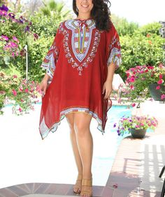 Take a look at the Ananda's Collection Red Embroidered Sidetail Kaftan - Plus on #zulily today!