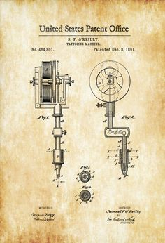 Girl Names Discover First Tattoo Machine Patent 1891 - Tattoo Gun Patent Tattooing Tattoo Parlor Art Tattoo Prints Vintage Tattoo Diy Tattoo, Tattoo Shop, Tattoo Ideas, Tattoo Studio, Create A Tattoo, Hirsch Tattoo, Deco Studio, Patent Drawing, Poster Prints