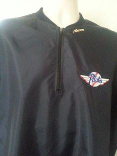 "NWT MIZUNO Windbreaker Shirt 38-40 M Baseball ""Pilots"" Blue Solid S/S Polyester #Mizuno #ebay #Mizuno #Windbreaker #BaseballPilots"