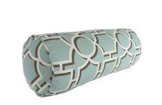 Decorative Geometric Vreeland Aqua, Cocoa & White Bolster Pillow