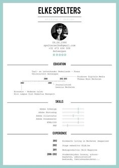 Resume by Elke Spelters, via Behance::