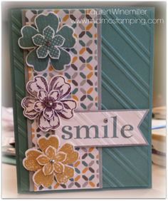 Stampin' Up! 2014-16 In Colors, Flower Shop, Petite Petals, Happy Days, Flower Pansy Punch, moonlight dsp www.midmostamping.com