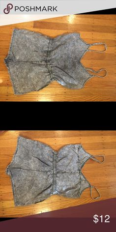 Acid wash romper Gray acid wash spaghetti strap romper Forever 21 Shorts