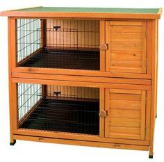 Rabbit Hutch 2 Story Kennel Cage Indoor Outdoor Wood Coop Bunny Pen Crate Premiu #WareManufacturing