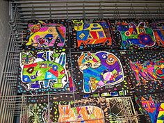 Laurel Burch cats- colored marker on white paper- cut out- black paper add colorful dots