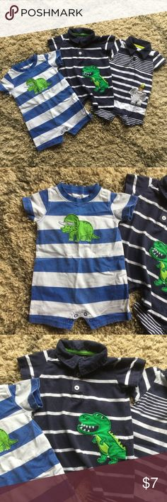 3 one piece short rompers All from Carter's.  All very gently used, excellent condition.  All snap at bottom for easy diaper changing Carter's Bottoms Jumpsuits & Rompers