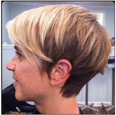 Two toned blonde. Whispy hair line, lots of length and texture on top.