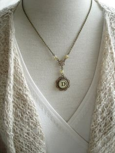 Typewriter Key Jewelry. Letter D Necklace & Crystals. Vintage Typewriter Key Necklace. Shabby Flower Monogram Necklace. Rustic Jewelry.