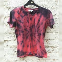 Womens Tie Dye Tshirt Coral & Black to fit UK size 10 or US size 6 Autumn Fashion