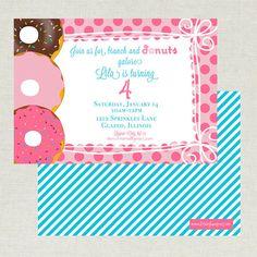 DONUTS & DOTS Invitation, Girls Birthday, PRINTABLE by Libby Lane Press
