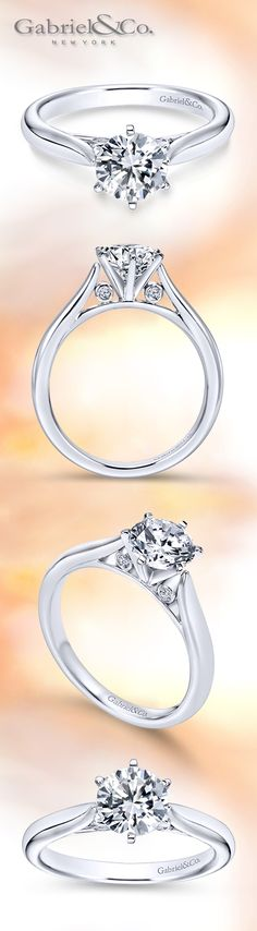 Gabriel & Co. - Voted #1 Most Preferred Bridal Brand. A Contemporary Round-Cut Diamond Solitaire Engagement Ring. Style: ER6668W44JJ