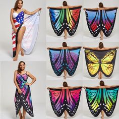5bde22ae5a New Plus Size XL-5XL Women Summer Butterfly Wrap Swimwear Beach Cover Up  Dress. Swimwear Cover UpsSwimsuit CoverSarong WrapBlack White ...