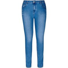 City Chic Power Stretch Skinny Denim Jeans ($60) ❤ liked on Polyvore featuring plus size women's fashion, plus size clothing, plus size jeans, skinny jeans, super stretch jeans, blue skinny jeans, zipper jeans and stretchy skinny jeans