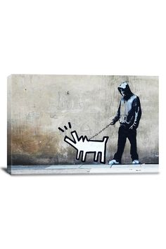 Banksy Choose Your Weapon Keith Haring Dog 18inX12in Canvas Print