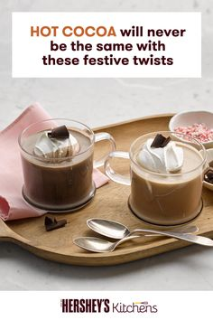 Are you in the mood for both a co ee and a hot chocolate? This simple Hot Cocoa Mocha recipe will do the trick. This easy drink is made with HERSHEY'S SPECIAL DARK Cocoa and coffee, for a drink that w (Hersheys Chocolate Milkshake) Winter Drinks, Holiday Drinks, Holiday Recipes, Cold Drinks, Christmas Sangria, Mix Drinks, Fancy Drinks, Hot Chocolate Recipes, Chocolate Desserts