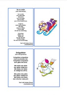 Mariaslekrum - Illustrerade sånger. Learn Swedish, Swedish Language, Pre School, Montessori, Crafts For Kids, Teacher, Education, Learning, Printables