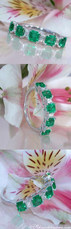 Terrific Diamond Band with Columbian Emeralds | 1.41 ct. | Whitegold 18k - schmucktraeume.com Like: https://www.facebook.com/Noble-Juwelen-150871984924926/