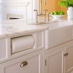 Can you spot my favorite thing about this kitchen?  It is the built in paper towel holder! Hidden but still handy.