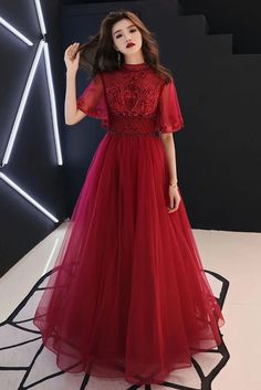 Burgundy Tulle Lace Mid Sleeve Long Prom Dress, Beaded Formal Dress from Girlsprom - Long prom dresses Indian Gowns Dresses, Women's Dresses, Fashion Dresses, Long Dresses, Bridesmaid Dresses, Stylish Dresses, Elegant Dresses, Beautiful Dresses, Burgundy Evening Dress