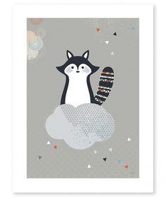 Affiche enfant raton laveur et nuage