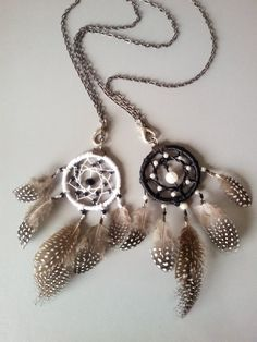 BFF Black and white dream catcher necklace by DreamyFlowerWonder
