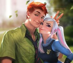 Personification of Judy Hopps and Nick Wilde from *Zootopia* by Sakimichan Disney E Dreamworks, Disney Pixar, Humanized Disney, Disney Fan Art, Disney Memes, Disney Cartoons, Zootopia Nick E Judy, Nick Et Judy, Disney Characters As Humans