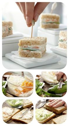 Gurken-Sandwiches For the salmon cream, make cream cheese with lemon juice, salt, pepper and Worcester sauce until smooth. The salmon is cut into small pieces and stirred under the cheese: cucumber sandwiches with smoked salmon cream Cucumber Sandwiches, Tea Sandwiches, Party Finger Foods, Snacks Für Party, Sandwich Vegan, Comida Para Baby Shower, Shellfish Recipes, Party Buffet, Food Humor