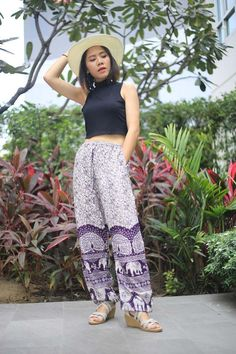 This item is unavailable Boho Outfits, Trendy Outfits, Fashion Outfits, Lounge Pants Outfit, Funny Pajamas, Hippie Style Clothing, Gypsy Pants, Elephant Pants, Indian Fabric