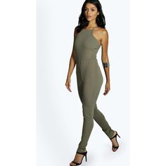 Boohoo Night Taylor Textured Crepe Strappy Jumpsuit ($26) ❤ liked on Polyvore featuring jumpsuits, khaki, basic tshirt, wide leg jumpsuit, crepe jumpsuit, boohoo jumpsuits and basic t shirt