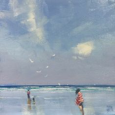 """""""Red Towel - blue sky"""" by Mike Barr. Paintings for Sale. Red Towels, Sky Painting, Art Hoe, Buy Art Online, Paintings For Sale, Online Art Gallery, Impressionism, Watercolour, Red And Blue"""