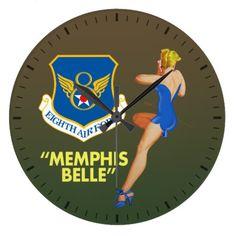 """Memphis Belle"" 8th Air Force Large Clock"