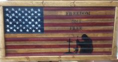 Made this on bead board and framed it, stain and painted and distressed to look old. Stenciled Freedom isn't Free sells on etsy for $45 https://www.etsy.com/shop/countrycraftsbydebbi?ref=hdr_shop_menu