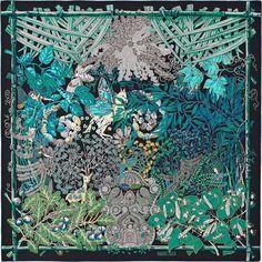 "36"" x 36"" scarf Hermès   Mythes et Metamorphoses by Annie Faivre FW 2014 CW 03 marine/turquoise/vert"