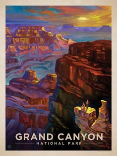 Grand Canyon National Park: Sunset - Anderson Design Group has created an award-winning series of classic travel posters that celebrates the history and charm of America's greatest cities and national parks. Founder Joel Anderson directs a team of talented artists to keep the collection growing. This oil painting by Kai Carpenter celebrates the vast glory of Grand Canyon National Park.