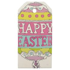 Happy Easter Painted Egg Wrapping Products Wooden Gift Tags - paper gifts presents gift idea customize