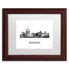 Trademark Marlene Watson 'Roanoke Virginia Skyline WB-BW' Matted Framed Art