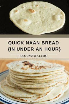 Quick Naan Bread (in under an hour) This quick naan bread comes together in just under an hour. Perfectly soft and tender and No Oven Required! So yummy. Recipes With Naan Bread, Flatbread Recipes, Bread Machine Recipes, Quick Flat Bread Recipe, Naan Bread Recipe No Yogurt, Homemade Naan Bread, Flatbread Pizza, Pita Bread, Indian Food Recipes