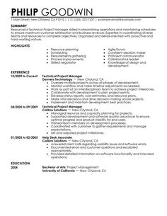 Sample Resume For Project Manager Program Manager Sample Resume  Biotech Sample Resume  Resume .