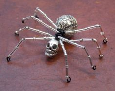 Silver Skull and Bead Spider